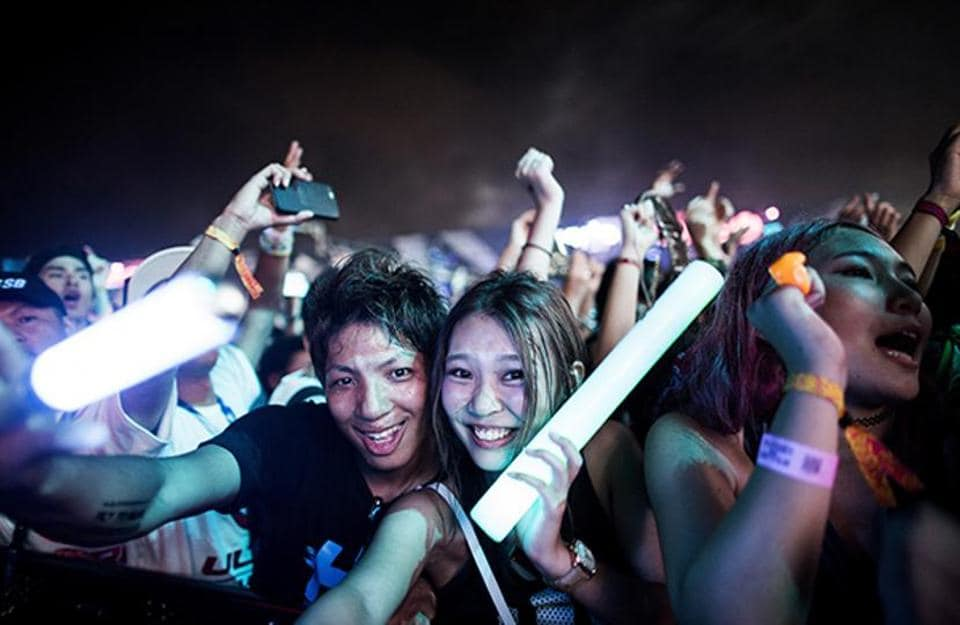 Festivalgoers at the Japan Ultra Music Festival at Odaiba Ultra Park in Tokyo.