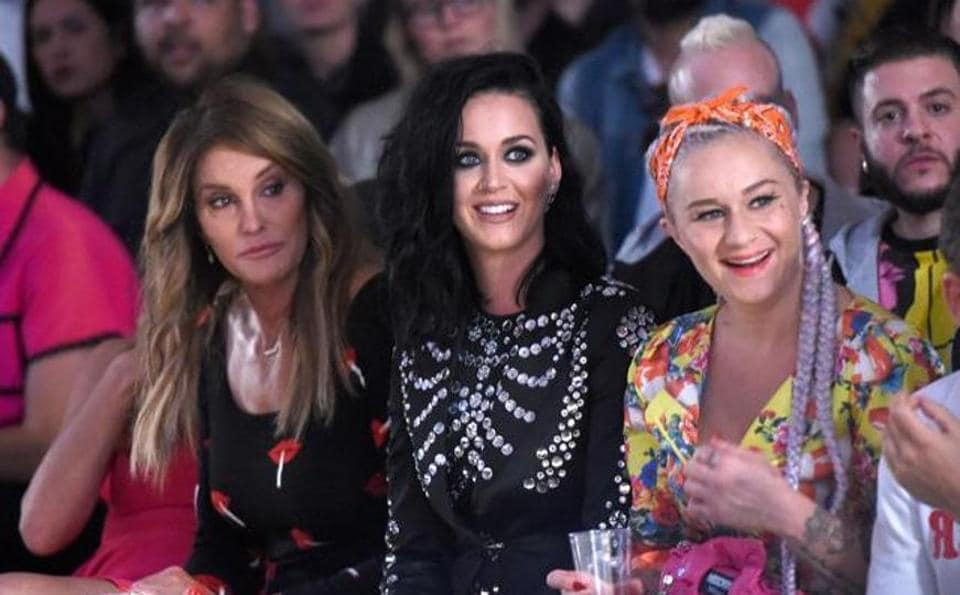 Caitlyn Jenner (L) and Katy Perry (C) at LA Live Event Deck in Los Angeles in 2016.
