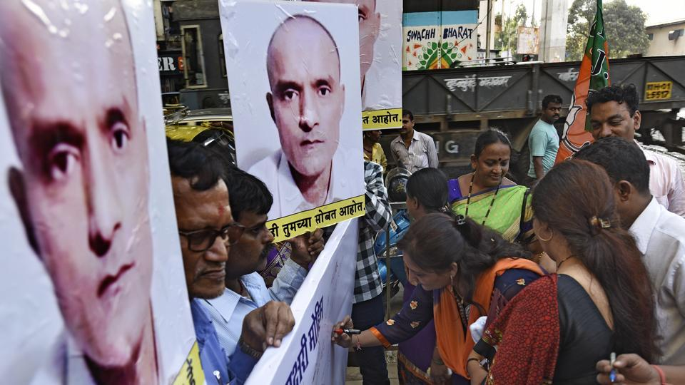 BJP workers begin a signature campaign to garner support for Kulbhushan Jadhav in Mumbai.