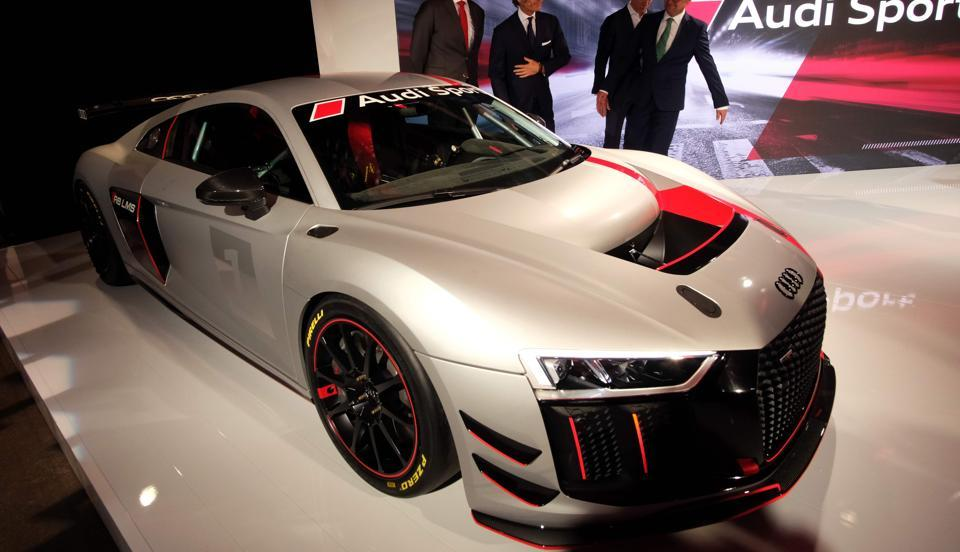 Audi R8 LMS GT4 is unveiled in New York on Tuesday, ahead of the New York International Auto Show.