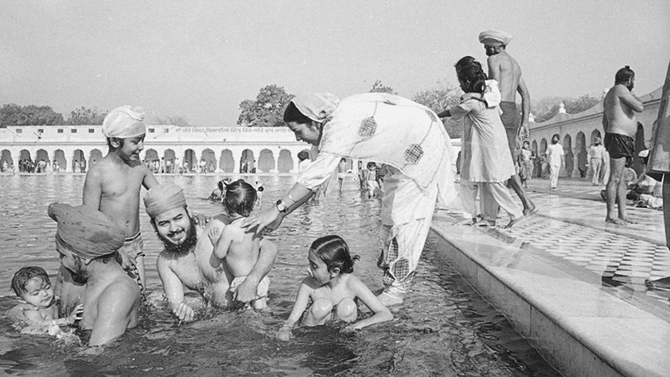 Marking the beginning of the solar new year, a Sikh family takes a holy dip on the occasion of Baisakhi at Bangla Sahib Gurudwara. One of the most popular festivals, Baisakhi has a special significance for Sikhs as on this day in 1699, the tenth guru, Guru Gobind Singh Ji formed the order of the Khalsa. The festival widely celebrated in many northern states of India such as Haryana, Himachal Pradesh and Uttarakhand also coincides with other new year festivals celebrated across the southern states. (HT Photo)