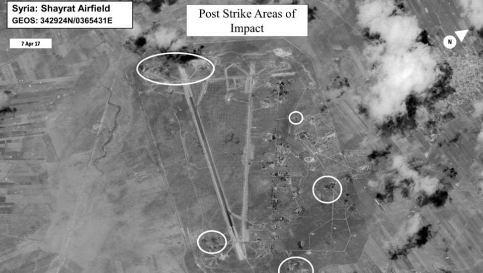 Battle damage assessment image of Shayrat Airfield, Syria, is seen in this DigitalGlobe satellite image released by the Pentagon.