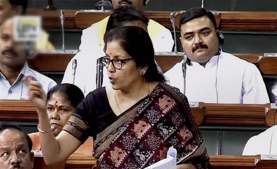 Commerce and Industry Minister Nirmala Sitharaman speaks in the Lok Sabha in New Delhi on Monday.
