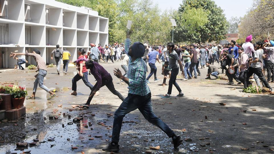 Panjab University,fee­-hike protest,stone-pelting