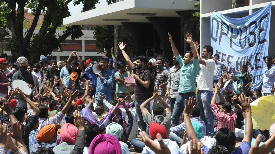 Panjab University students protesting against fee hike.