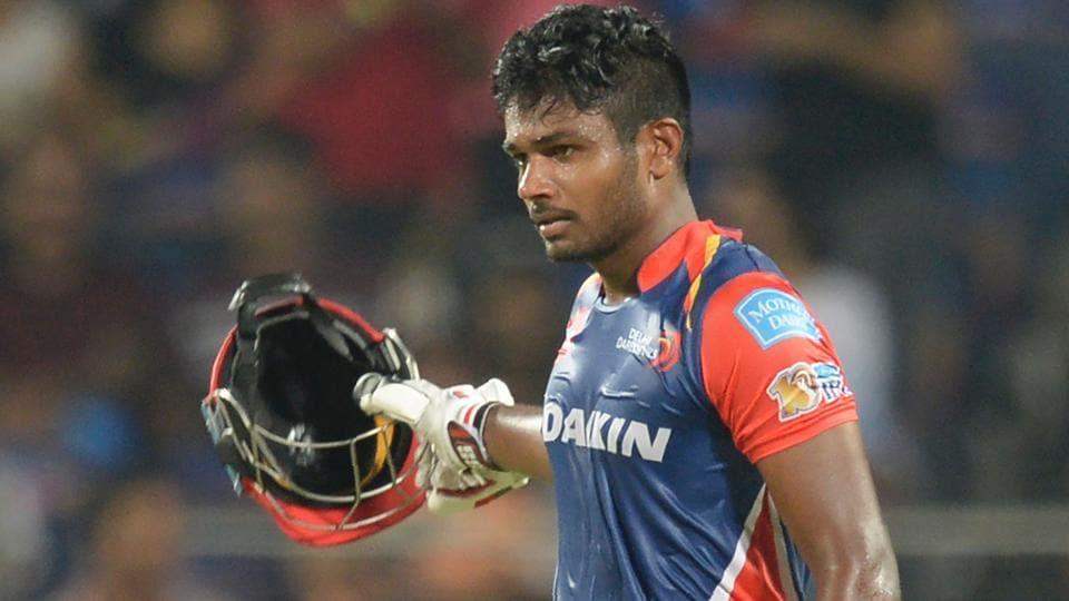 Delhi Daredevils batsman Sanju Samson celebrates after scoring his hundred against Rising Pune Supergiant.
