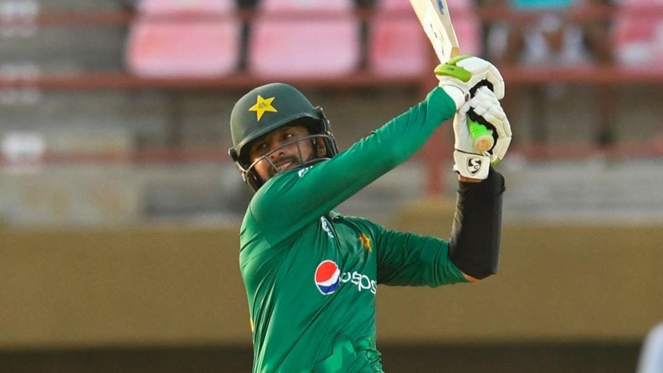 Shoaib Malik of Pakistan cricket team hits the winning runs, a six. during the 3rd and final ODI against West Indies cricket team at Guyana National Stadium in Providence on Tuesday.