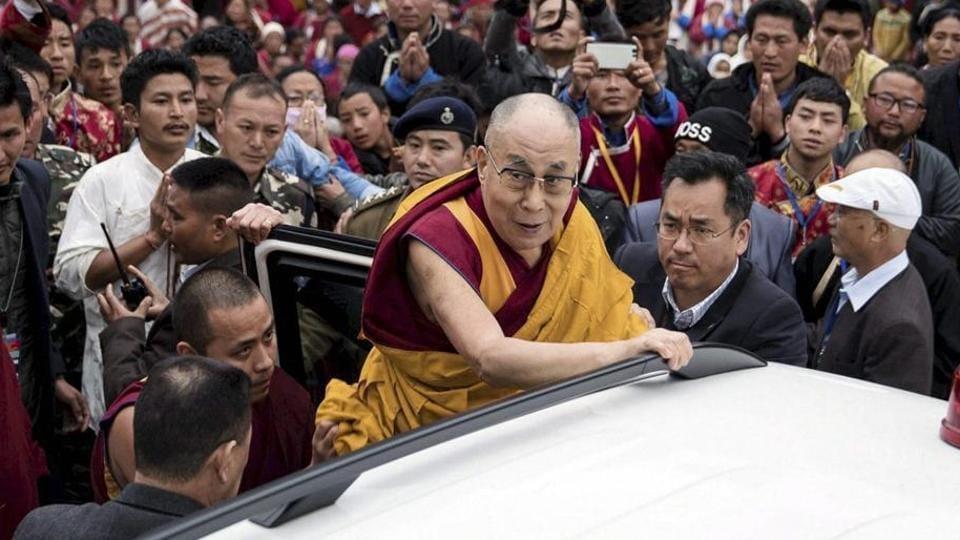 Tibetan spiritual leader the Dalai Lama, after teachings and consecrating the Thupsung Dhargyeling Monastery in Dirang, Arunachal Pradesh.