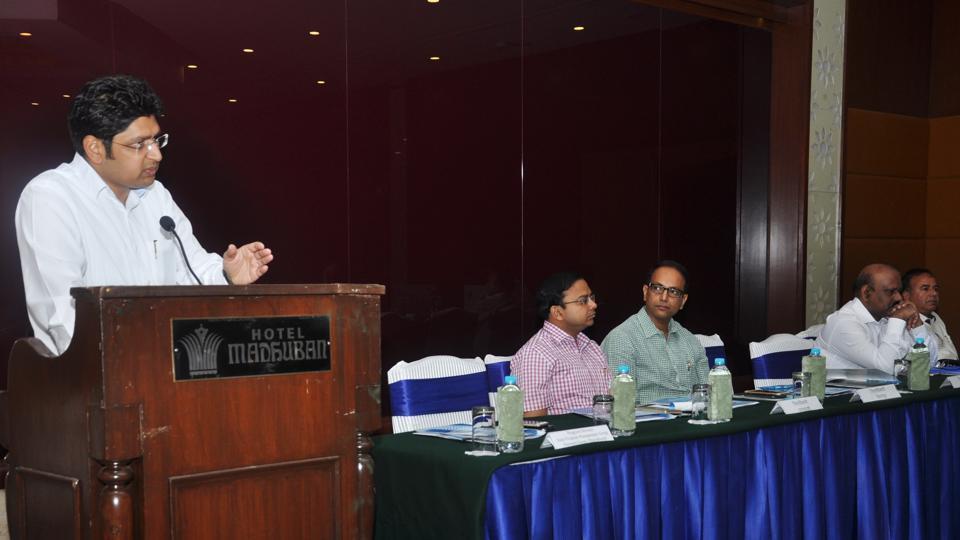 Raghav Langhar, the state project director of Namami Gange, speaks during a workshop in Dehradun  on Wednesday.