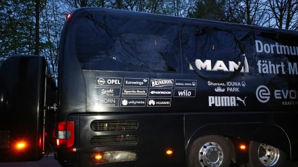 The Borussia Dortmund team bus after explosion near their hotel before the Champions League quarterfinal match against ASMonaco on Tuesday night.