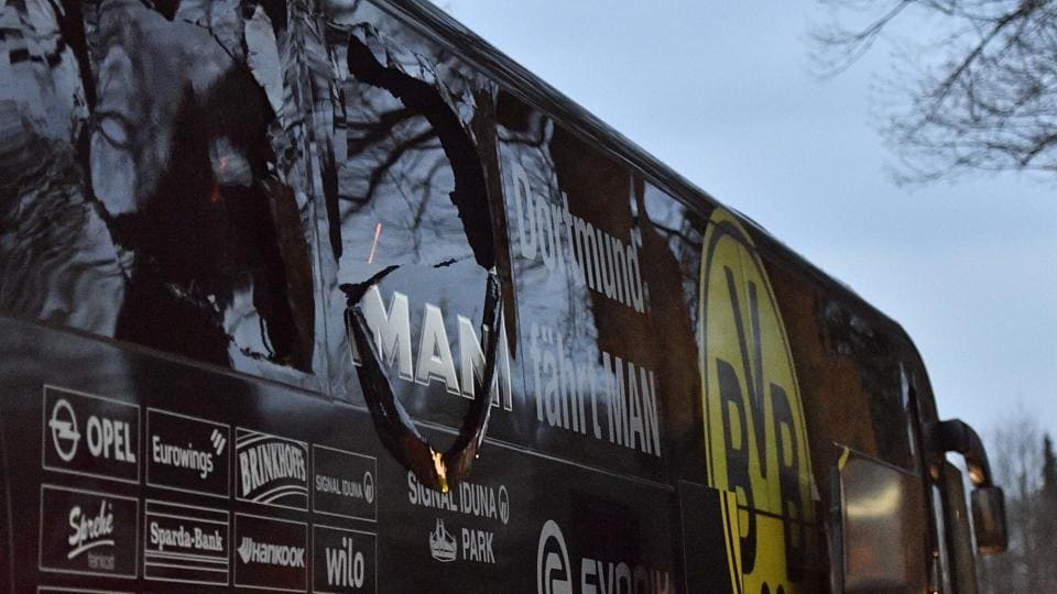 The Borussia Dortmund team bus was hit by three explosions ahead of their Champions League quarter-final encounter against Monaco in Dortmund. The game has been postponed to Wednesday night.