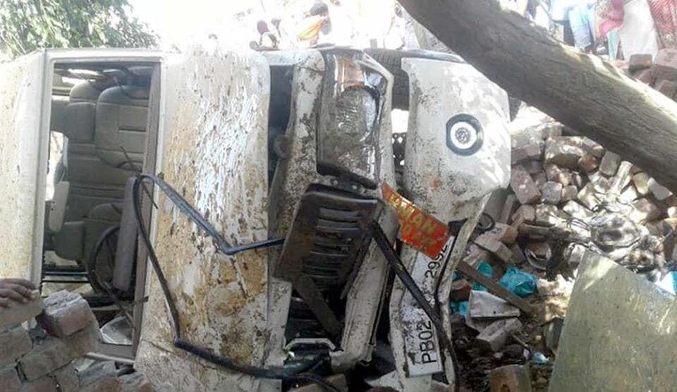 The Bolero SUV after it ran into ice-cream stalls in Jandiala Guru near Amritsar on Wednesday.