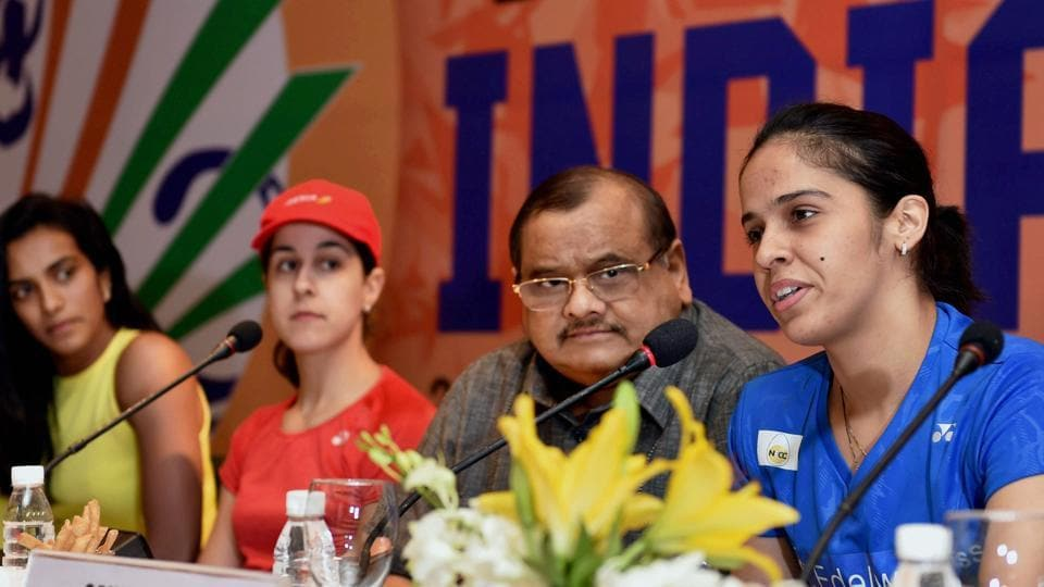 Badminton Association of India president Akhilesh Das Gupta (second from right) during a press conference ahead of the India Open world superseries badminton championship in New Delhi recently.