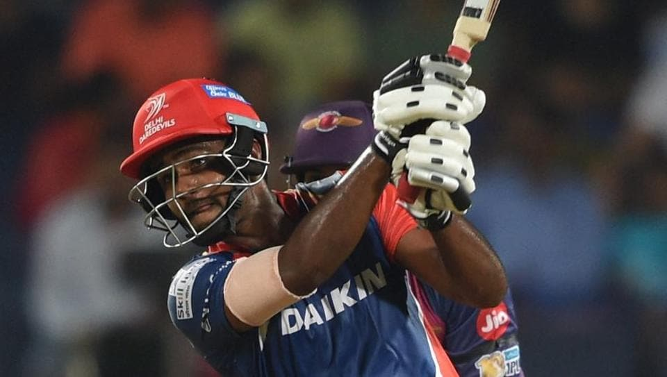 Sanju Samson of Delhi Daredevils hits a boundary during the Indian Premier League (IPL)match against Rising Pune Supergiant in Pune on Tuesday