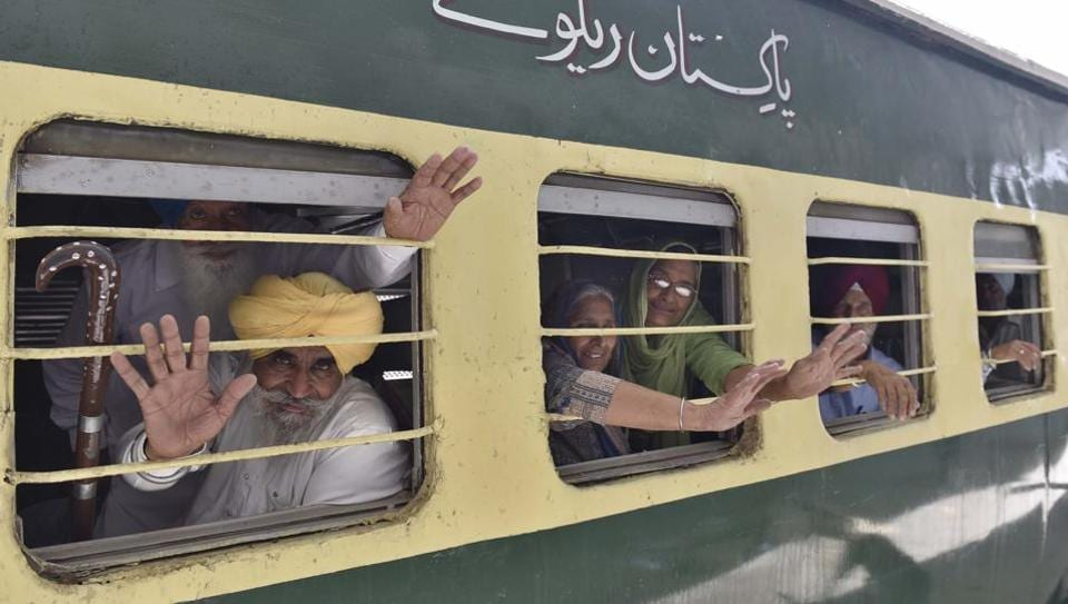 Sikh Pilgrims before leaving for Pakistan via special train at Attari Railway Station on Wednesday.