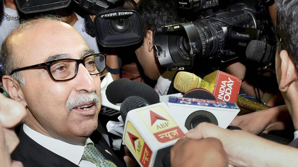 Pakistan's High Commissioner Abdul Basit talks to media after attending a programme of Centre for Peace and Progress in New Delhi on Tuesday.