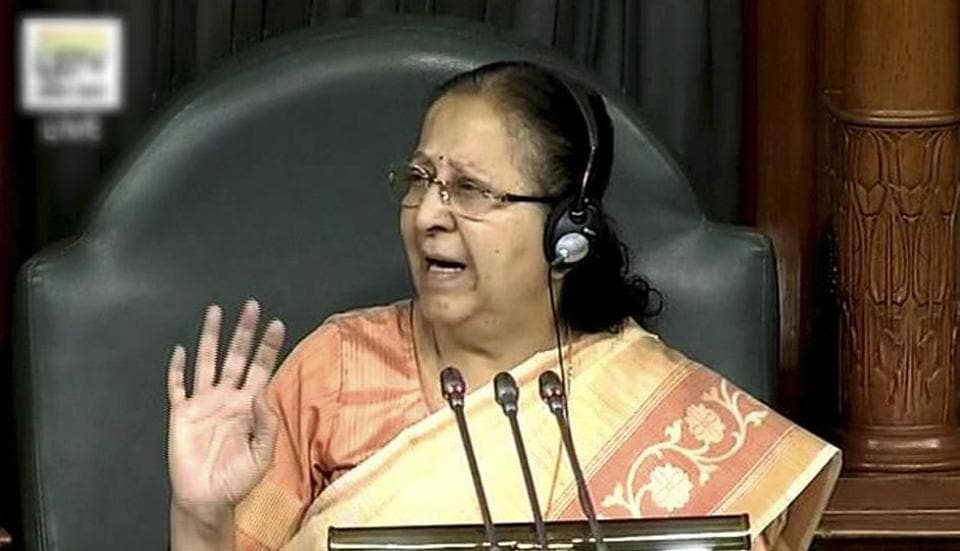Lok Sabha speaker Sumitra Mahajan conducts the proceedings of the House in New Delhi. She said have been many unpleasant incidents in the political discourse in recent past and everyone must work together to improve it.