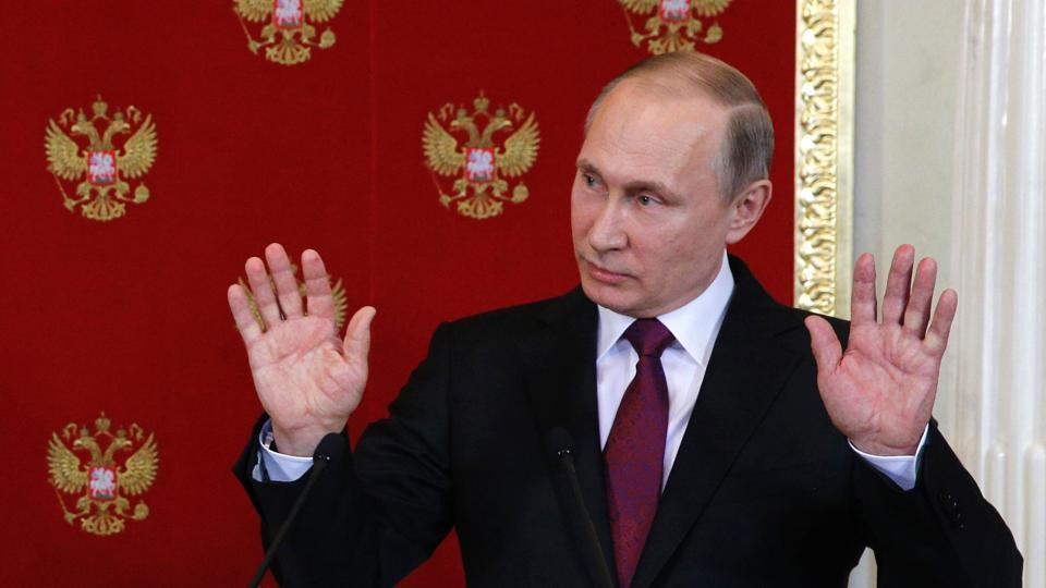 Russian President Vladimir Putin holds a press conference in Moscow on April 11, 2017. Russian President Vladimir Putin on April 11, 2017, warned of future chemical weapons