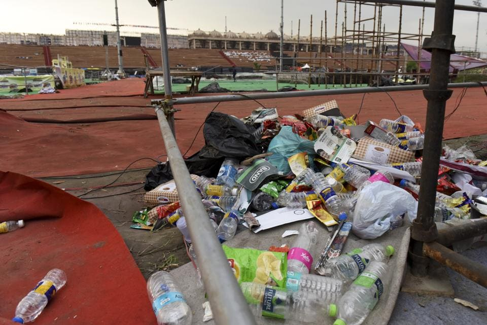 Garbage left on Yamuna's bank after the Art of Living's World Culture Festival in March 2016. Scientists estimated that ecology of more than 420 acres of floodplains was adversely affected by the event.