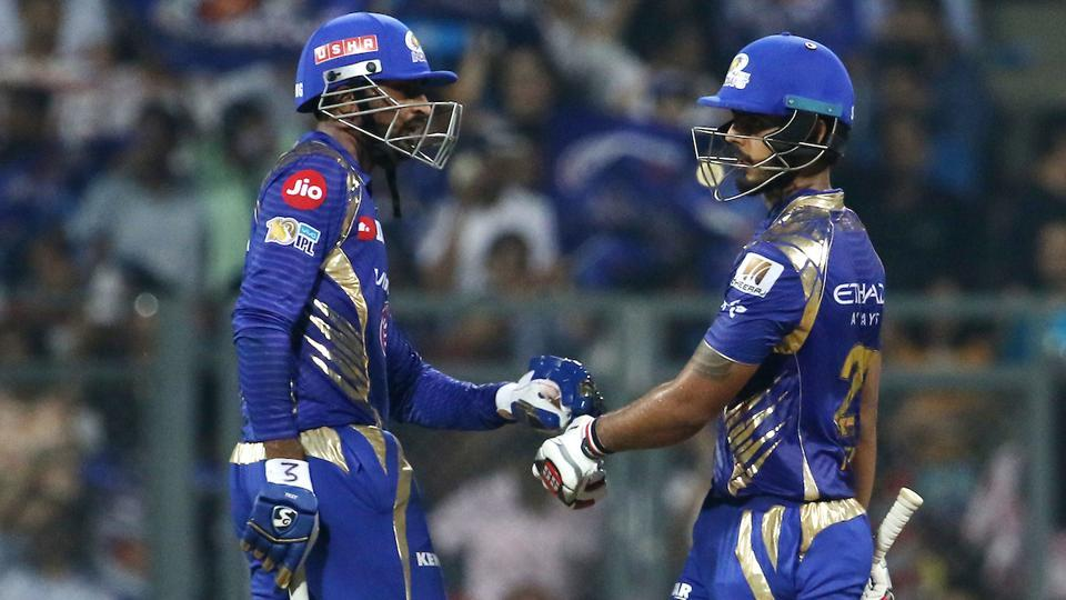 Krunal Pandya (L) and Nitish Rana helped Mumbai Indians chase down the target of 159 during their match against Sunrisers Hyderabad at the Wankhede Stadium, Mumbai, in 2017 Indian Premier League T20.