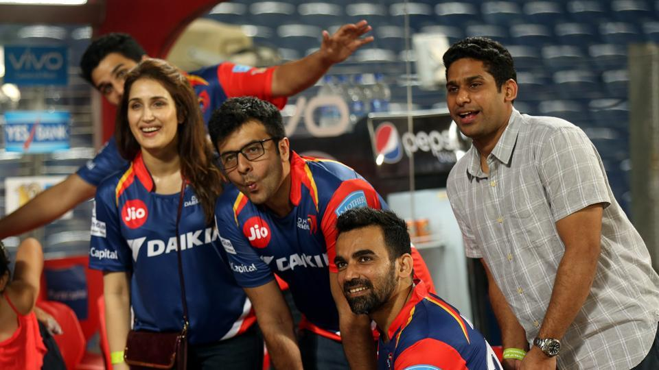 Sagarika Ghatge and Zaheer Khan seemed happy to pose after the 2017 Indian Premier League between Delhi Daredevils and Rising Pune Supergiants at the MCA International Stadium in Pune on Tuesday. (bcci)