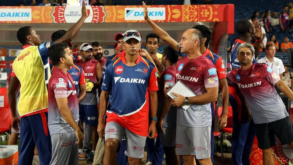 Delhi Daredevils batting mentor Rahul Dravid may be in the background nowadays but you just can't miss him during an IPL match. Here he is seen coming on to the field after Delhi Daredevils won their Indian Premier League against Rising Pune Supergiants in Pune on Tuesday.  (bcci)