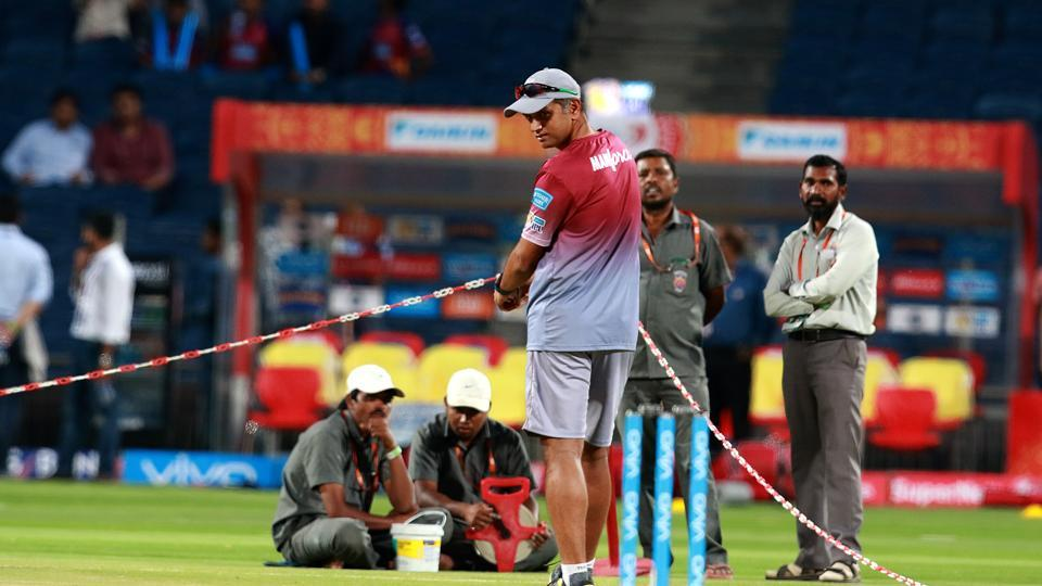 As ever, Rahul Dravid remains involved in every facet of the game. Here he is seen checking out the pitch ahead of the 2017 Indian Premier League between Rising Pune Supergiants and Delhi Daredevils in Pune on Tuesday.  (bcci)