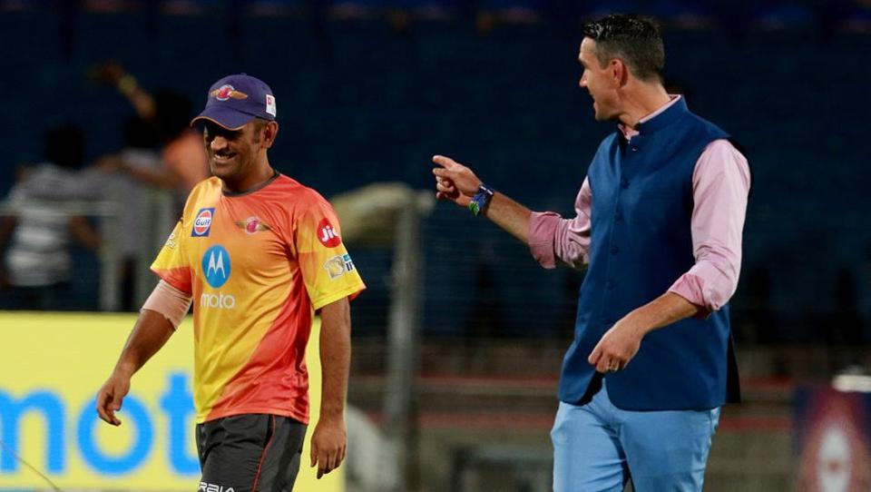 Kevin Pietersen (right) was part of the Rising Pune Supergiant team that was led by MS Dhoni last year. Now Dhoni is no longer the captain while Pietersen is a commentator.  (bcci)
