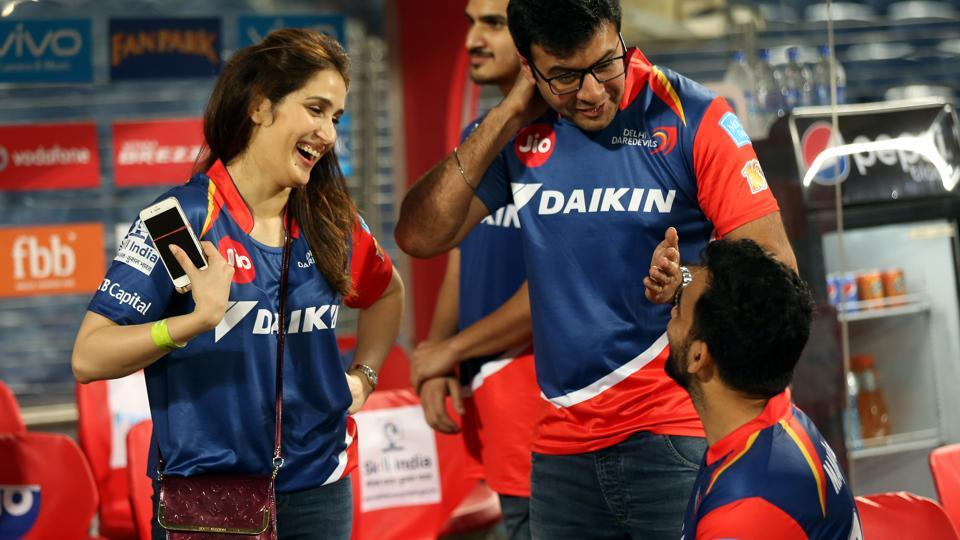 Actor Sagarika Ghatge (left) was seen at the Delhi Daredevils dugout after their Indian Premier League 2017 match against Rising Pune Supergiant on Tuesday. Grapevine is that Ghatge has been dating Delhi Daredevils captain Zaheer Khan for  while now.  (BCCI)