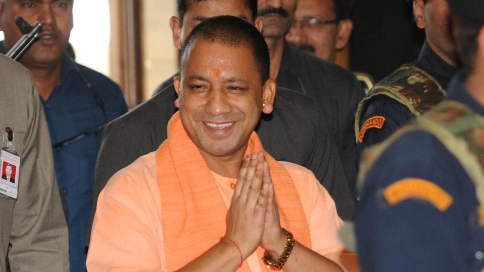 Chief minister Yogi Adityanath going for second cabinet meeting at Lokbhavan in Lucknow on April 11.