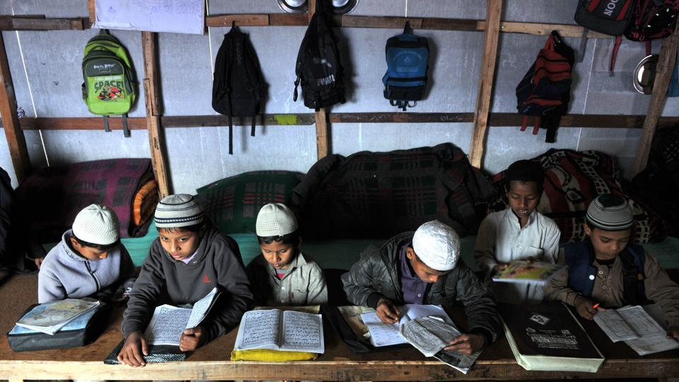 "Rohingya Muslim children busy in their studies in Madrasa at a refugee camp. Following criticism, the chamber claimed that its statement was ""misconstrued by anti-national elements and all it wanted was to kill the issue"". (Nitin Kanotra/HT Photo)"