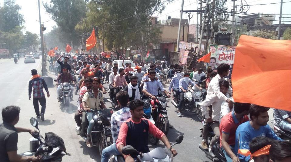 Hindu Yuva Vahini members dragged a couple out of a house in Meerut on Tuesday, and beat up the man.