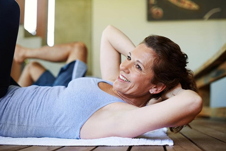 Strength training exercises working core strength and the thighs help build muscle mass in menopausal women.