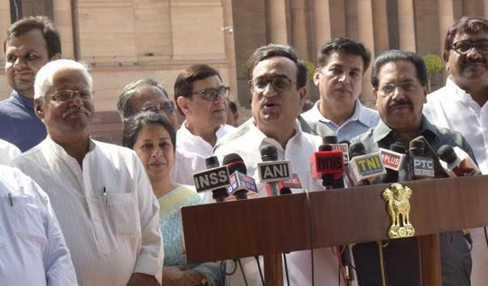 Delhi Congress chief Ajay Maken with other party leaders met President Pranab Mukherjee over the findings of the Shunglu panel.