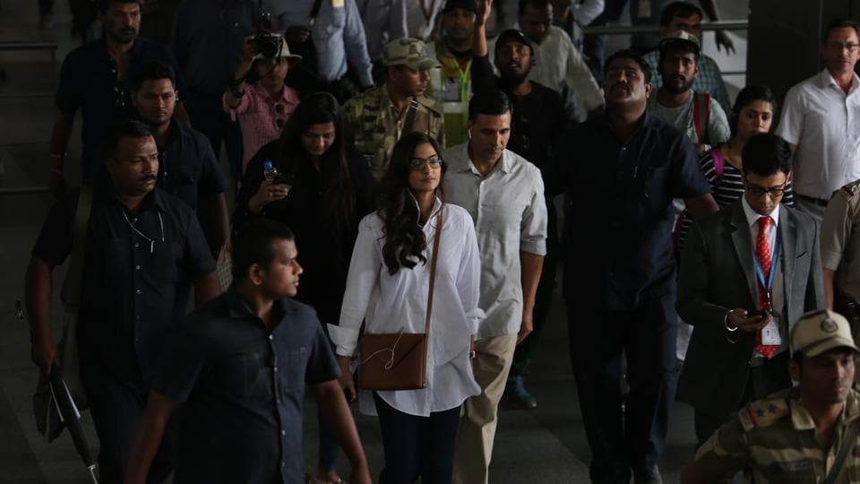 Actors Sonam Kapoor and Akshay Kumar in Delhi, where they shot at IGI airport and IIT campus for the film Padman