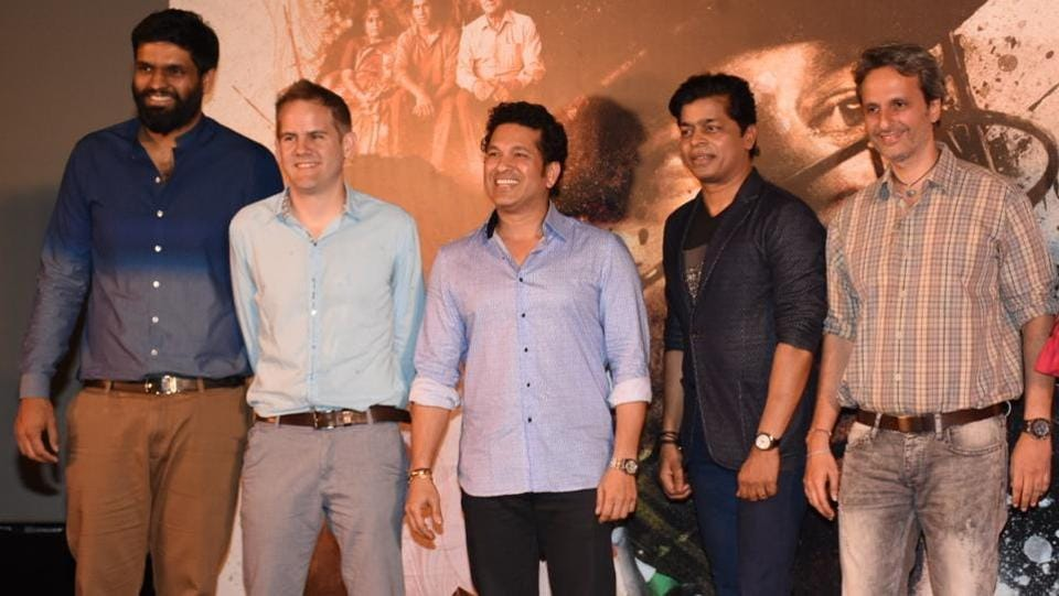 The trailer launch was attended by producer Ravi Bhagchandka, director James Erskine, the chairman and founder of Carnival Group Shrikant Bhasi and Anil Thadani. (HT Photo)