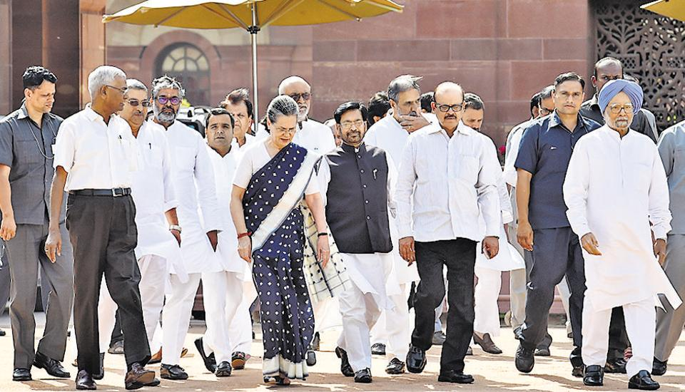 A delegation of Opposition parties, led by Congress chief Sonia Gandhi, met President Pranab Mukherjee on Wednesday to seek his intervention in getting EVMs replaced with ballot paper following allegations of tampering in the recent elections.