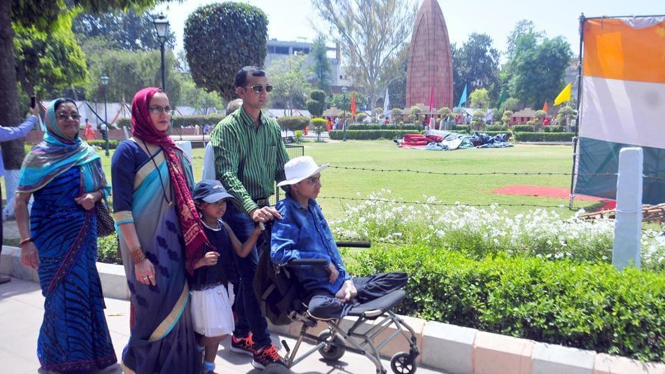 Visitors at the Jallianwala Bagh in Amritsar.