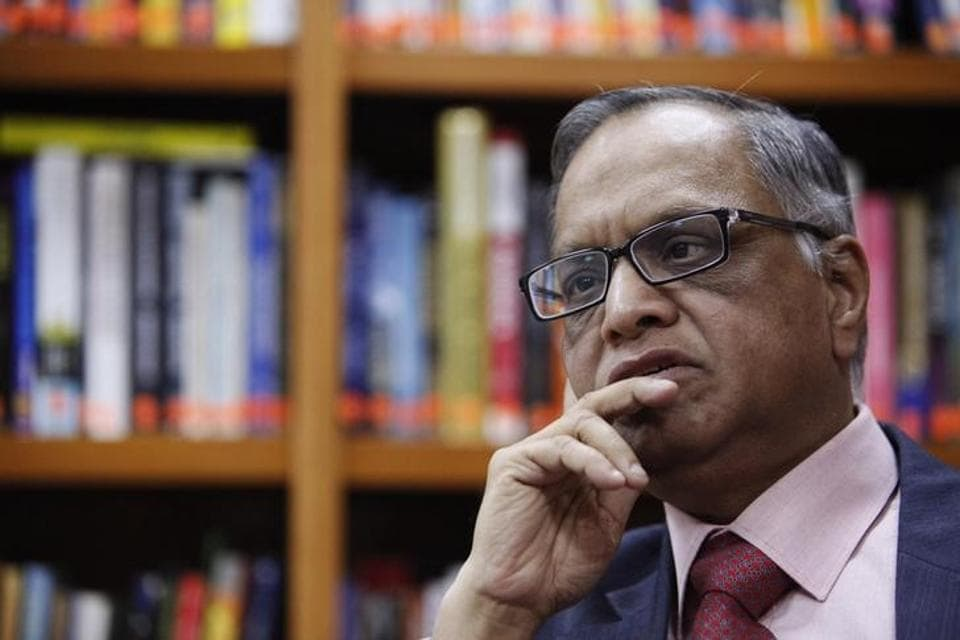N. R. Narayana Murthy listens to a question during an interview with Reuters at the company's office in Bangalore.