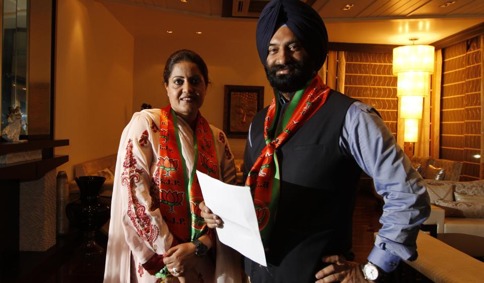 Newly-elected MLAfrom Rajouri Garden, Manjinder Singh Sirsa with his wife Satvinder Kaur.