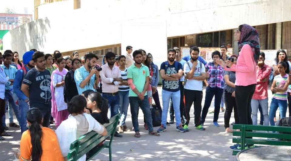 A student addressing the supporters of Students for Society during a rally at Student Centre in Panjab University on Wednesday.