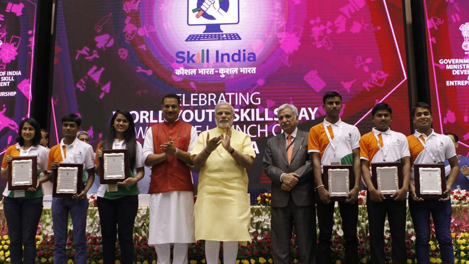 PM Modi with other ministers at the launch of the National Skill Development Mission in New Delhi.