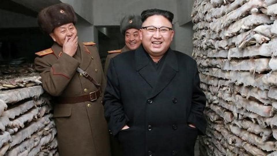 North Korean leader Kim Jong Un is pictured at the Headquarters of Large Combined Unit 966 of the Korean People's Army (KPA) in Pyongyang.