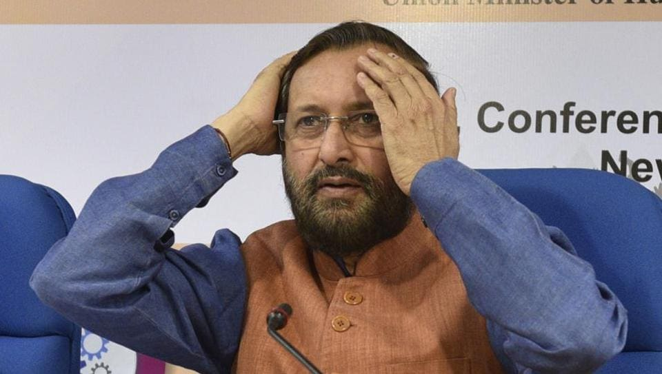HRD Minister Prakash Javadekar during the releasing of 'India Ranking 2017' in New Delhi on April 3. He said strict action would be taken against the publisher responsible for posting sexist content.