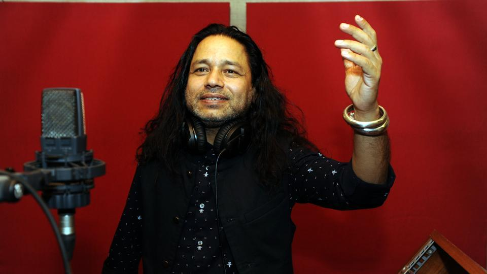 Indian Folk, Sufi and Bollywood playback singer Kailash Kher poses for photographs during production of his forthcoming Hindi song Vote Do at his studio in Mumbai.