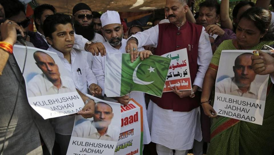 Members of BJP Minority Morcha protesting against the conviction of a retired Indian naval officer Kulbhushan Jadhav, in Mumbai, on April 12.