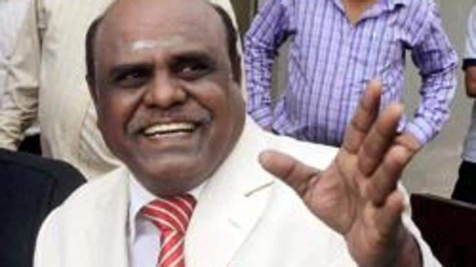 Justice CS Karnan of the Calcutta high court addressing a press conference at his residence in New Town near Kolkata in March 2017.