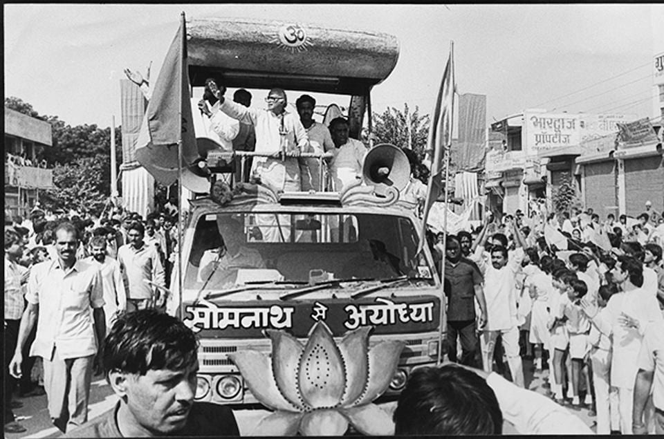 LKAdvani during an election rally on 14 October, 1990.