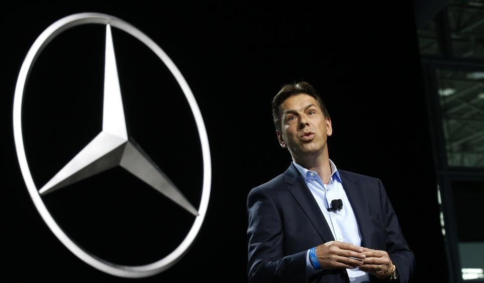 Dietmar Exler, president and CEO of Mercedes Benz USA, speaks at the 2017 New York International Auto Show in New York City.