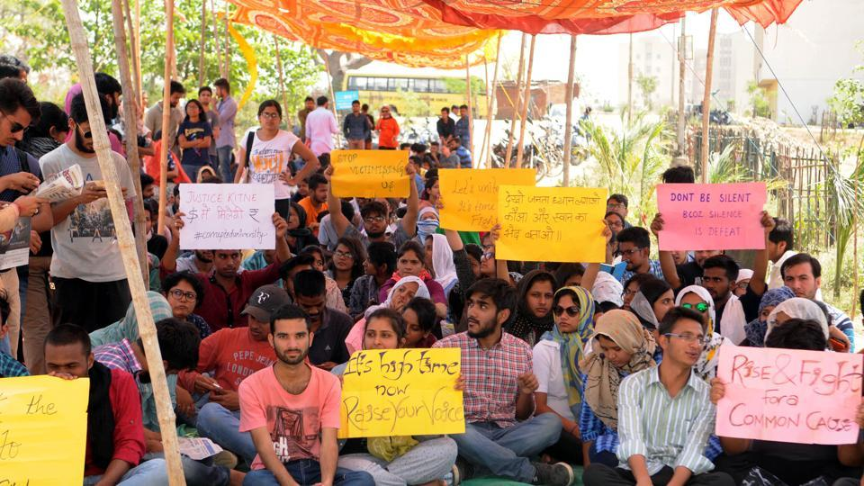 Students of National University of Study and Research in Law(NSURL) staged demonstration  at NSURL campus , Nagri in Ranchi on Wednesday